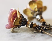 Dusky Pink Flower Earrings with Antiqued Brass