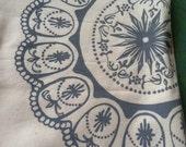 Tea Towel/Handmade/Hand-Printed Tea Towel/Classic Egg Tray Motif/Gray/Maine Made/FREE SHIPPING