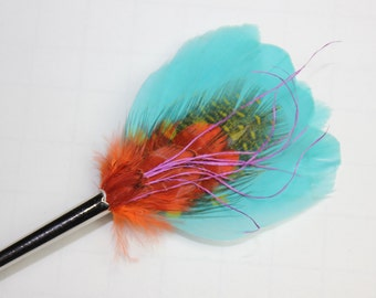 "Feather Lapel Pin, Boutonniere, Hat Pin Brooch ""Caribbean"" - aqua, chartreuse, orange, purple feathers with silver toned pin base"