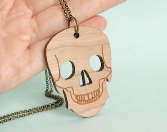 Wooden Skull Necklace Anatomy Jewellery Medical Jewelry Skeleton Brass Chain