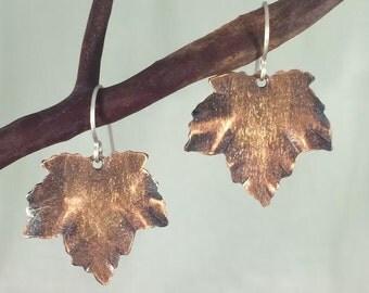 Leaf Earrings - Copper Leaf Earrings - Dangle Earrings