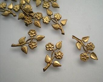 12 tiny brass flower sprays