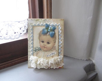 New Baby Boy Card - Welcome New Baby Boy - Vintage Baby Boy