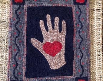 Primitive hooked rug Heart in hand valentine hand hooked wool rug hooking