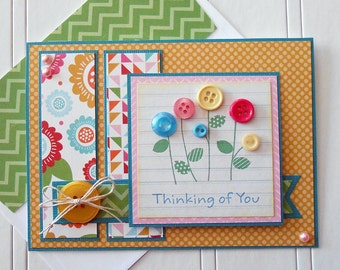 Thinking of You Card with Matching Embellished Envelope - Button Blossoms
