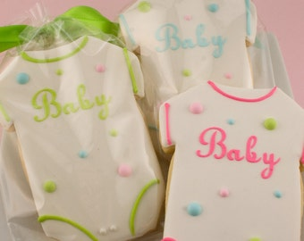 Baby Cookies, Polka Dot Cookies, Baby Shower Cookies, Personalized Baby Cookies - 12 Decorated Sugar Cookie Favors