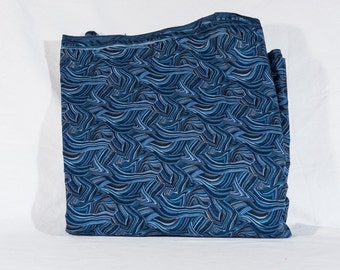 "Fabric blue wavy sewing quilting 45"" X 131"""
