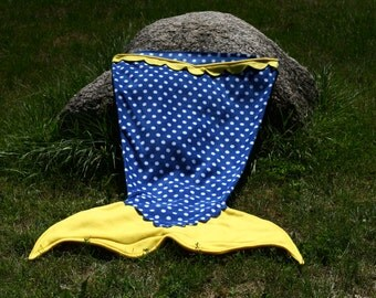 Ready to Ship - Fleece Mermaid Tail Blanket, Royal Polka dots with Yellow Tail