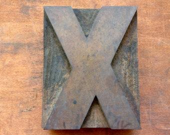 Antique Letterpress printers Wood Type - letter X