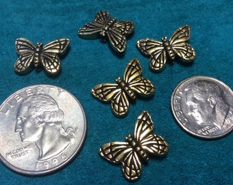 antique gold pewter butterfly beads