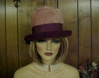 """SALE Two tone cloche hat- with imported body- Made in Austria- fits 22"""""""