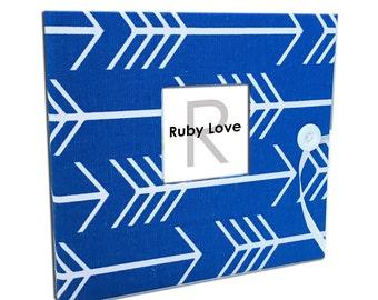 BABY BOOK | Cobalt Blue Arrows Silhouette Album | Ruby Love Modern Baby Memory Book