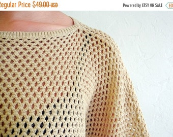 35% OFF SUMMER SALE Taupe Crocheted Sweater
