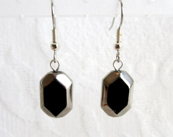 Black and Silver Glass Pierced or Clip On Earrings