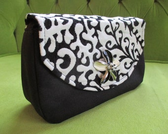 Bag or Clutch in Black and White Chenille Fabric