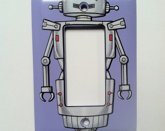 Robot Light Switch Cover - For Modern or Rocker light switch - lavender purple plate with robot decal sticker