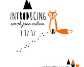 Fox Baby Announcement Rubber Stamp