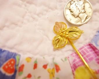 Vintage 10K Black Hills Gold Stick Pin with Grape Leaves Motif