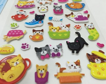 Cute Puffy Stickers - We Love Whimsical Kitty Cats....Meow..