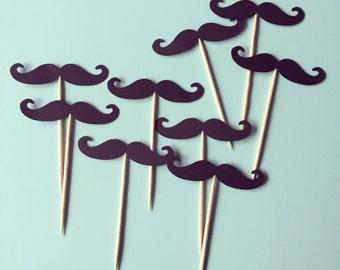 1 Dozen Mustache Cupcake Picks