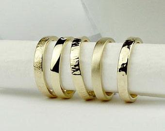 Solid 9ct Gold Wedding Ring - Forged - wedding band - simple ring-wedding ring pair- textured ring - silversynergy - uk - matte ring - matt