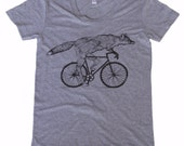 Womens FOX t shirt Bicycle shirt Tri-Blend  screen printed tshirt s m l xl
