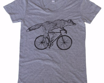 Womens FOX t shirt Bicycle shirt american apparel Tri-Blend  screen printed tshirt s m l xl