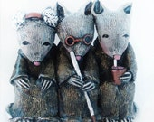 Mostly Misunderstood - Three Little Rats - Sculpture by Lisa Snellings