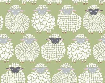 Wool Ewe Be Mine Sheep Fabric- Cotton By the Yard- Sheepish Grin - Moss