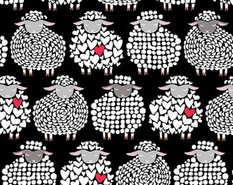 Wool Ewe Be Mine Sheep Fabric- Cotton By the Yard- Sheepish Grin White on Black