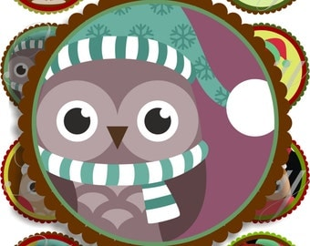 Cute christmas owls large circles for pocket mirrors and more digital collage sheet No.1587