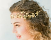 "Romantic interwoven gold leaf hair vine with pearls and crystals ""Marley"""
