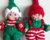 RESERVED Listing Set of Knit Elf Outfits for Itty Bitty Chubby 5 inch Berenguer Baby Dolls