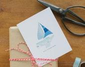 Happy Birthday Greeting Card - Ahoy Birthday Ahead - Nautical - Ship - Sea - Ocean - Boat - Sail - Regatta - Dad - Boy - Wishes (BDY211/311)