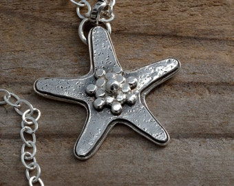 Sterling silver starfish sea star necklace pendant, nautical beach jewelry, sea urchin creature, ocean necklace, unusual artisan handmade