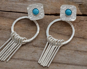 Turquoise stone front back ear jackets sterling silver fringe double sided post stud earrings boho southwestern jewelry spike ear jacket