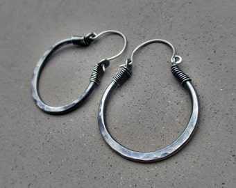 Sterling Silver Hoop Earrings, Smallest Size, Metalsmithed, Hip, Ethnic, Gypsy, Handmade