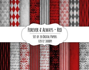Forever & Always - Red - Digital Scrapbook Paper 12x12 Pack - Set of 18 - Instant Download - Item# 8277