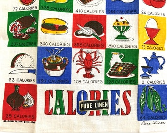 Vintage Kitchen Towel Calories Foods GREAT Colors Date 1968 MWT Mint With Tag NOS New Old Stock