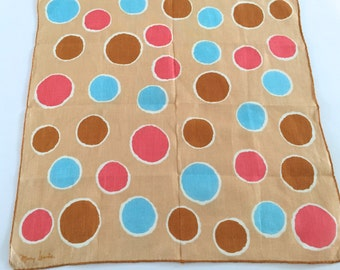 FINAL CLEARANCE SALE Vintage Polka Dots Handkerchief Abstract Circles Mod Hankie Mary Lewis Designer
