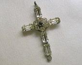 Vintage Sterling Rhinestone Stanhope Cross With the Lord's Prayer, Old Stanhope Cross, Vintage Rhinestone Cross (#2934)