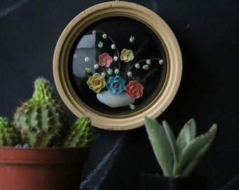Hand Made Shell Flowers Art Work Under Curved Glass Vintage 60s to 70s From Nowvintage on Etsy