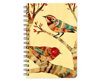 Dolan Warblers Pocket Notebook -  A Collaboration with Mixed Media Artist Dolan Geiman - Real Birch Wood Jotter Notepad - J1757