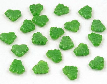 Czech Glass Satiny Green Maple Leaf Beads 13mm - 10