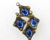 Vintage Charm Sapphire Glass Cabochon Antiqued Brass Frame Setting Tiny uvf0197 (4)