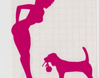 Beagle and Pin Up Silhouette, Hot Pink Vinyl Decal