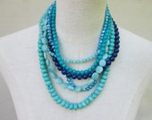 "Blue Navy Turquoise Aqua Shades Multi Strand Beaded Layered Necklace,  ""L'Heure Bleue """