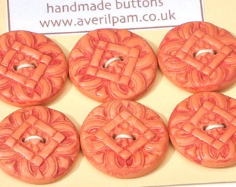 Handmade Round Buttons Peach and Red 20mm