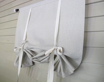 Natural Tan 36 Inch Long Stage Coach Blind Swedish Roll Up Shade Tie Up Curtain Swag Balloon