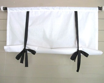 White Shade with Black Ties 60 Inch Long Swedish Roll Up Shade Stage Coach Blind Tie Up Curtain